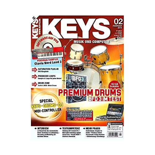 Keys 2 2014 mit DVD - 162GB Samples Premium Drums BFD3 im Test - Software auf DVD - Personal Samples - Free Loops - Audiobeispiele
