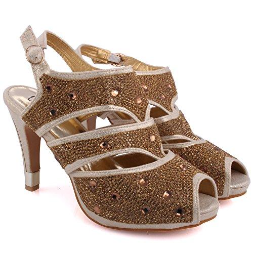Unze Neue Frauen Damen 'Naetta' Kristall Diamante Accentted Niedrige Mitte Stilettabsatz Abend, Hochzeit, Prom Party Sandalen Fersen Schuhe Größe 3-8 - 178-F-1 Gold