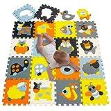 meiqicool Bambini Puzzle Giocare Mat colorato Catroon Non tossico Piastrelle di Schiuma Pavimento Child Puzzle Play Mat Colourful Morbido Schiuma Giocattoli 011011