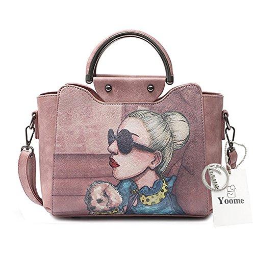 Yoome Stampa Borse alla moda per le donne Borsa a manico superiore Vegan Leather New Chic Bags Crossbody - Blu Rosa