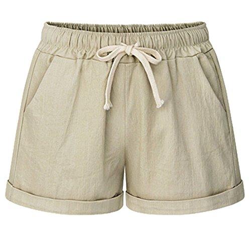 HAINES Kurze Hosen Damen Sommer Leinen Shorts Hohe Taille Hotpants Beach Short - Damen Leinen Drawstring-hose