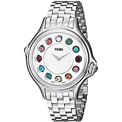 Fendi Crazy Carats F107034000T02 38mm Silver Steel Bracelet & Case Synthetic Sapphire Women's Watch