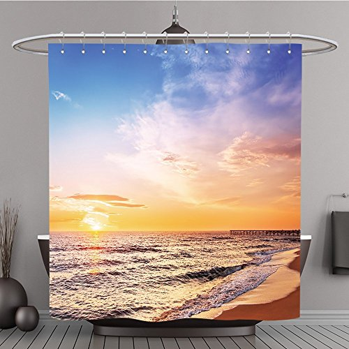 77 Scenic View of Beautiful Sunrise Polyester-über dem Meer-Bad Vorhang, Polyester, multi, 108W By 72L Inch (108 Hoch Duschvorhang)
