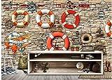 BHXINGMU Kundenspezifisches Wandgemälde Rettungsringmuster Großes Wohnzimmer Fernsehsofa-Hintergrunddekoration 50Cm(H)×90Cm(W)