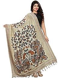 Kanchnar Women's Turquoise & Beige Bhagalpuri Silk Digital Print Dupatta