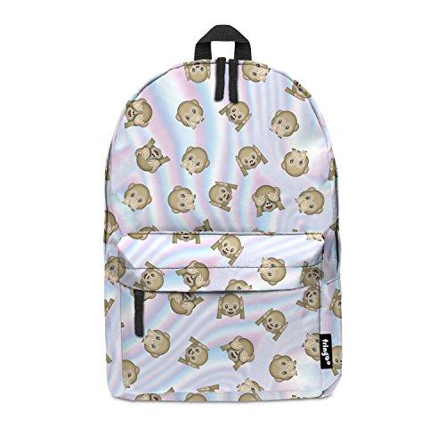 Imagen de fringoo® emoji mono holo niñas niños kids  bolso de escuela   bolsa de viaje equipaje de mano emoji holograma multicolor emoji monkey holo regular