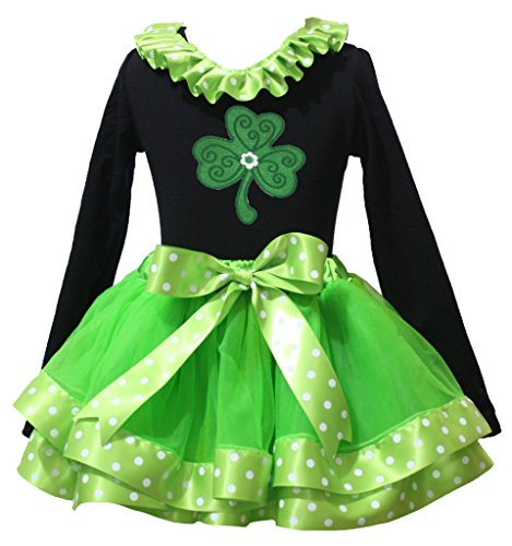 St Patrick Day Dress Clover Dots Lacing Black L/s Shirt Green Petal Skirt 1-8y (6-8 Jahr)
