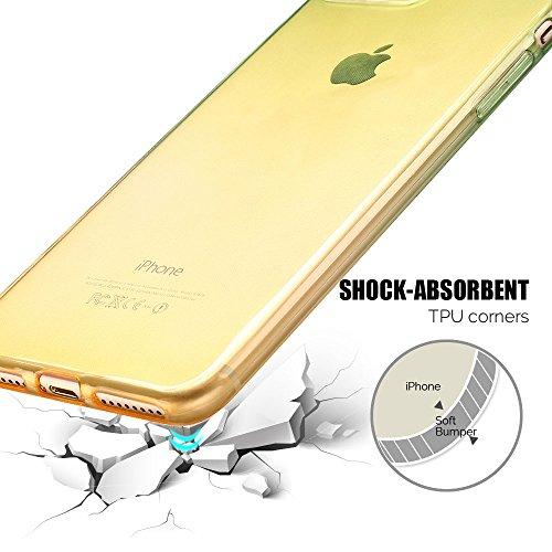 Coque iPhone 7 Plus (5.5 pouce) , TPU Transparente Case Gradient de couleur Slim Souple Étui de Protection Flexible Soft Silicone Cover Anti Choc Ultra Mince Couverture Bumper Caoutchouc Gel Anfire Ho Vert et Jaune