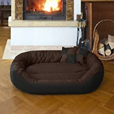 Gorgeous Quilted Reversible Ultra Soft Dual Sofa-Style Dog Bed with 2 Extra Pillow (Brown,Black)-XXL