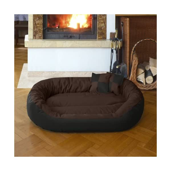 Gorgeous Quilted Reversible Ultra Soft Dual Sofa-Style Dog Bed with 2 Extra Pillow (Brown,Black)-Small