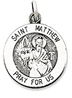 IceCarats 925 Sterling Silver Saint Matthew Medal Necklace Pendant Charm