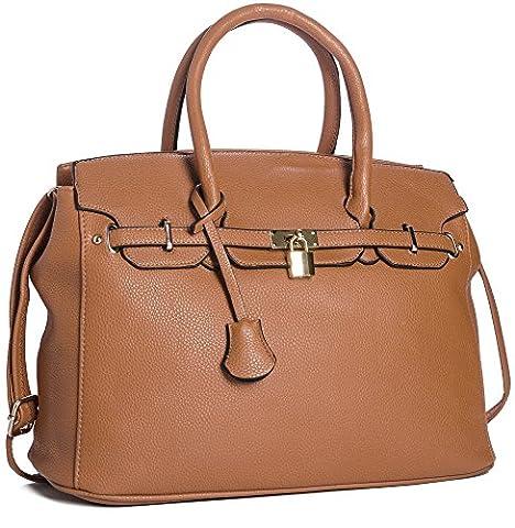 Big Handbag Shop Womens Faux Leather Designer Inspired Tote Shoulder Bag (Tan)