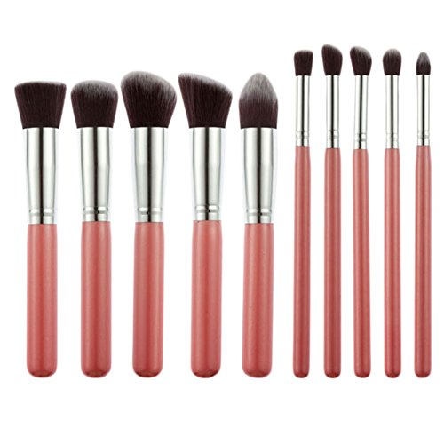 10pcs Professional Kabuki Style Make Up Brush Set Foundation Blusher Face Powder