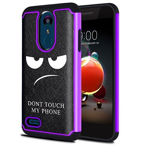 LG Aristo 2Fall, LG Fortune 2Fall, LG Zone 4Fall, LG Tribute Dynasty Fall, oeago [stoßfest] Hybrid-Dual-Layer Defender Schutzhülle Case Cover-Don 't Touch My Phone, violett (Lg Tribute Defender Case Bling)