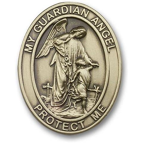 Icecarats Designer Di Gioielli In Oro Antico Angelo Custode Visiera Clip 1 5/8 X 1 1/4 Di Pollice - Angelo Visiera Clip