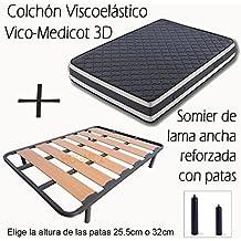 SOMIER DE LAMA ANCHA REFORZADO CON TACOS ANTI-RUIDO Y 4 PATAS DE 32CM + COLCHÓN VISCOELÁSTICO DOBLE CARA VISCO MEDICOT 3D-120x190cm