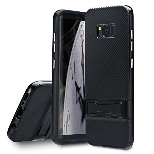 Lincivius Samsung S8 Plus Hülle, Galaxy S8 Plus Handyhülle Carbon Mit Krücke Schutzhülle Hüllen Cover Design [CARBON STAND] Slim Case hybrid Hard Contour + Softshell backcover Krücke - Schwartz (Krücken Plus)