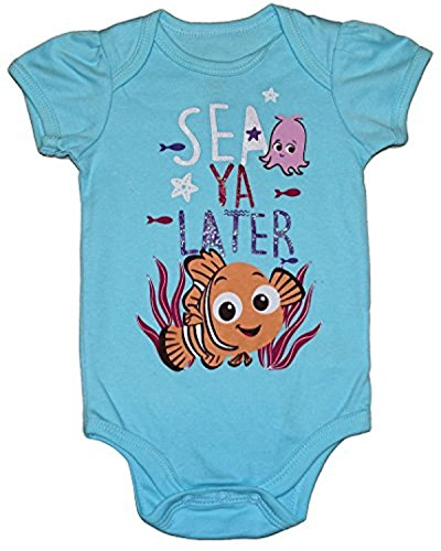 SEA YA LATER Baby Girls Bodysuit Dress Up Outfit (6-9 Months, Light Blue) ()