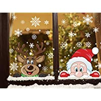 LOKIPA 6 Sheet 80Pcs Peeping Santa and Rudolph Christmas Window Clings Snowflake Stickers Decals for Christmas Window Display