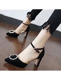 Xue Qiqi lumière de l'unique femme Chaussures, pointe fine et avec la sangle à fentes sauvages Baotou hauts talons noir, 35,
