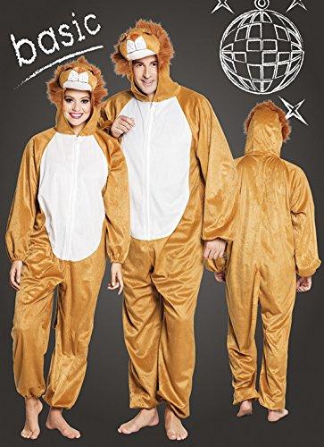 Halloweenia - Herren Motto-Party Karneval Kostüm Plüsch Löwe, Onesie, Komplett-Jumpsuit, One Size, Braun (Police Girl Kostüm Halloween)