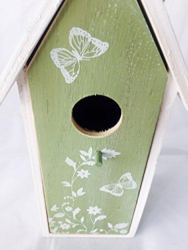 Vogelhaus Nistkasten aus Holz grün zum hängen mit Schmetterlingen mit herausnehmbarem Innenteil und Futtertrog innen, 25cm x 9cm x 8cm Gesamtlänge ca. 50cm dank Kordel zum hängen, - 5
