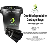 Garbage Bags Biodegradable Medium Size for Home,Office,Premium Black (48 cm x 56 cm),Biodegradable Garbage Bags/Trash bags/Dustbin bags/100% biodegradable tested garbage bags (180 bags) by NATUREPAC.