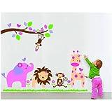 """Ebest - Peel & Stick Wall Decals / PVC autocollant - Zone des animaux, la taille de présentation 23 5/8 x 35 7/16 """"(peut-être encore utilisé après Peel 0ff)"""