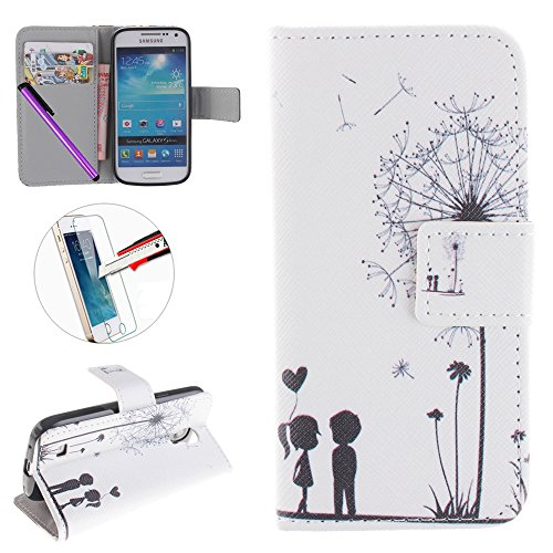 Samsung Galaxy S4 Mini Custodia, Flip Cover per Galaxy S4 Mini, custodia in pelle per Samsung Galaxy (Grain Leather Mini)