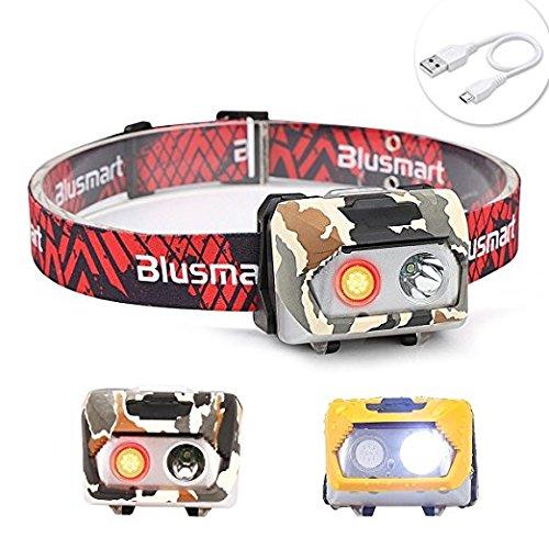 Stirnlampe LED USB Aufladbar, Blusmart Stirnlampen Sehr hell, Led-stirnlampe Laufen Wasserdicht Wiederaufladbare Kopflampe , Leicht und Bequem, Perfekt für Sport, Joggen, Gehen, Campen, Lesen, Laufen, Angeln, Bergsteigen, Fahrrad, für Kinder und mehr (inklusive USB Kabel)