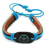 Unisex Dark Brown/ Light Blue Leather 'Peace' Friendship Bracelet - Adjustable