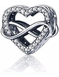 Abalorio de plata de ley 925 con diseño de corazón de la eternidad para pulseras y joyas de mujer