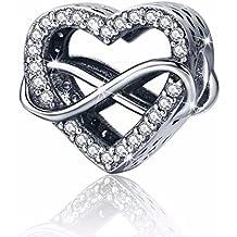 ea533ee9bf Charm in argento Sterling 925 con Eternity amore di cuori in zirconia  cubica, compatibile con