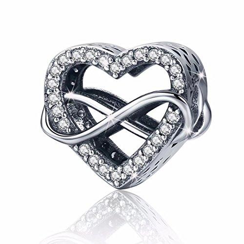 Charm in argento Sterling 925 con Eternity amore di cuori in zirconia cubica, compatibile con bracciali Pandora Regalo compleanno natale per moglie figlia m