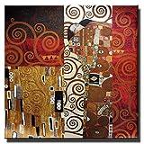 zkkpainting Pittura Olio Senza Telaio Bacio di Gustav Klimt Riproduzioni di Dipinti sulla Parete Bacio Classico Famosi Quadri su Tela Poster per Soggiorno