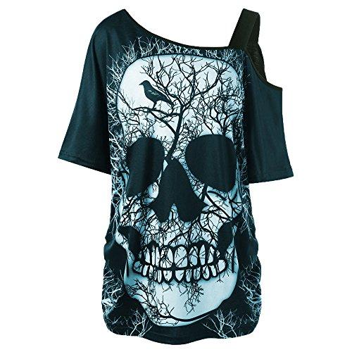 BHYDRY Damen ärmellose Totenkopf gedruckt Sommer Vintage Weste Kleid lose beiläufiges Kleid (XXL, Violet) (Frauen Halloween-kostüme Billig)