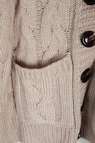 Vogueearth Fashion Damen's 3/4 Hülse Twist Knit Sweater Sweatshirt Button Cardigan Strickjacke Dunkel Beige