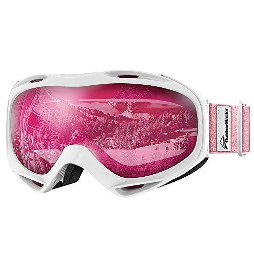 Premium Skibrille, Outdoormaster Snowboardbrille Schneebrille 100{2426b23c9c907f4cc8ecea290e867172912685a76e8a5eabfa78c47c0f91f61f} OTG UV-Schutz mit Rahmen Anti-Nebel, Helmkompatible Ski Goggles für Damen Und Herren /Jungen und Mädchen (Weißer Rahmen + VLT 46{2426b23c9c907f4cc8ecea290e867172912685a76e8a5eabfa78c47c0f91f61f} Pink Linse