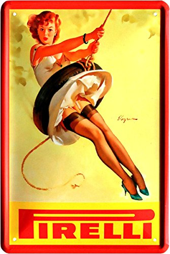 Blechschild 20x30 cm PIRELLI Reifen Werbung Pin up Girl Strapse sexy Lady Reklame Tankstelle Werkstatt Metall Schild