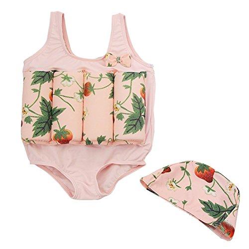 CYSTYLE Badeanzug mit Schwimmbojen Bademütze Bodycon Jumpsuit Bademode mit entnehmbare Auftriebsbojen für Kleine Jungen Mädchen Learn Swim (L (3-4Jahre)/ Height 105CM-115CM, Pink)