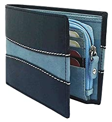 NUKAICHAU Mens Leather Wallet with 8 Card Slots and Zip Coin Pocket (Black and Blue, Nukc10)