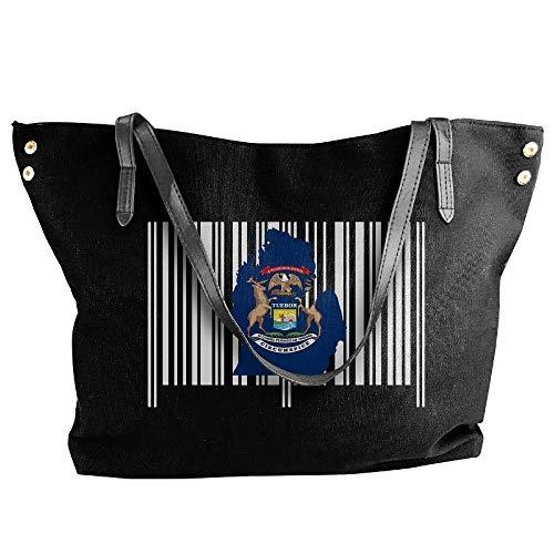 sghshsgh Umhängetaschen,Damenhandtaschen, Women's Michigan State Barcode Canvas Shoulder Bag Handbags Tote Bag Casual Shopping Bag -