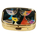 Fridolin 18279Pillendose mit Motiv von Rosina Wachtmeister: 4 Katzen, Metall, mehrfarbig, 5,1x 3,6x 1,8cm
