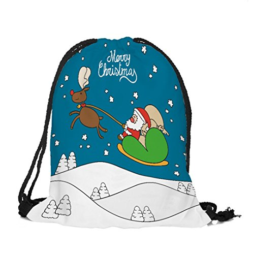Longra Tessuto di cotone di Natale allegro Natale del tema del tema del Natale di stampa del sacchetto del Drawstring B