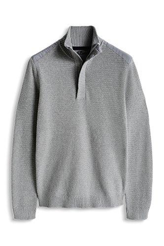 ESPRIT Herren Pullover mit Reißverschluss - Regular Fit Grau (LIGHT GREY 040)
