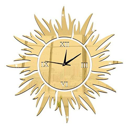 Unbekannt Wanduhr DIY Kreisspiegel Uhr Wanddekorationen Sonne Dreidimensionale Wandaufkleber Moderne Kreativität Ornamente Wohnzimmer Öffentliche Plätze,Gold