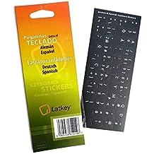 Pegatinas de teclado españolas / alemanas del teclado para la PC, ordenador portátil, teclados de ordenador (etiquetas negras, letras blancas)
