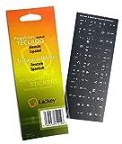 Espagnol/Allemand Autocollants Clavier pour PC, Ordinateur Portable, Claviers d'ordinateur PC, Macbook (Autocollant Fond Noir, Lettres Blanches)