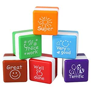 WLM Teachers Stampers Self Inking Praise Reward Stamps Motivation Sticker School on Sale Timbres(Pack of 6)