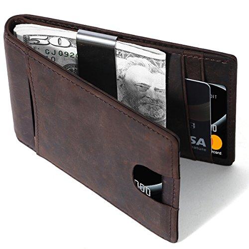 Geldklammer Leder, Portmonee Herren Karten, Money Clip, Geldtasche mit Klammer, Geldbörse mit Geldklammer Herren, Portemonnaie Geldbeutel mit RFID Schutz, 100% schirmt (Braun)